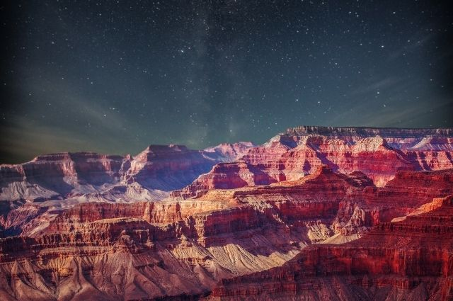 grand canyon at night time