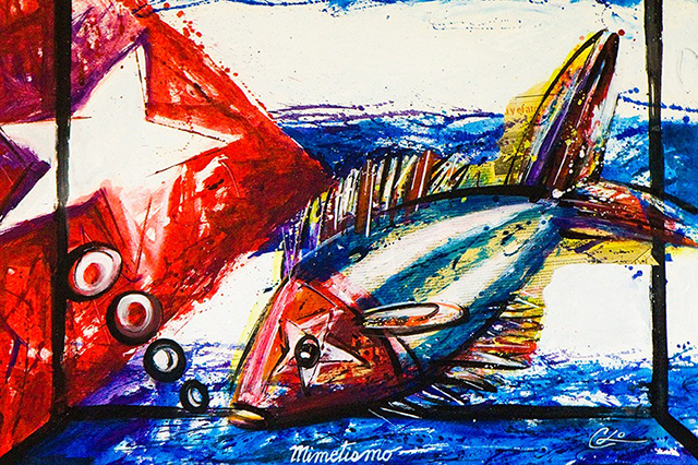 local painting of a fish on top of cuban flag