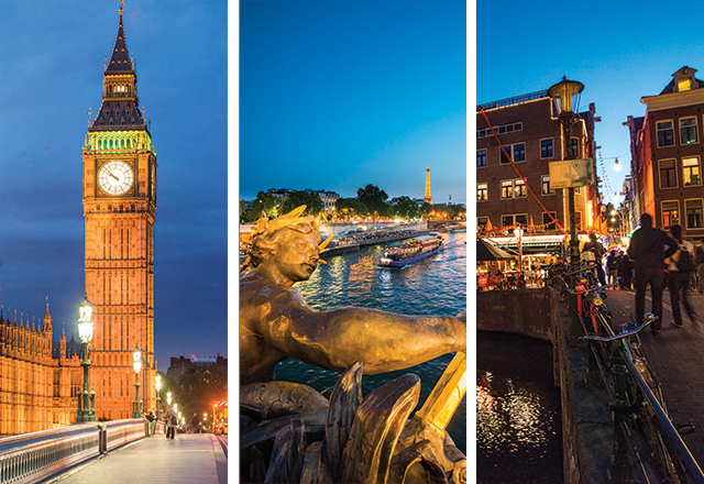collage of big ben river in paris and people walking in amsterdam at night