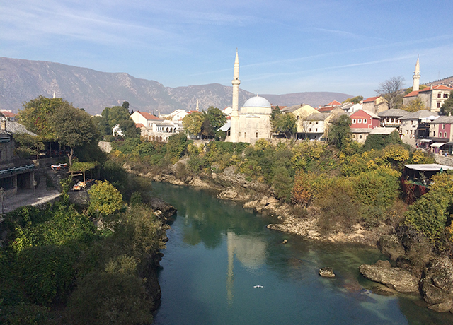 river leading to downtown mostar