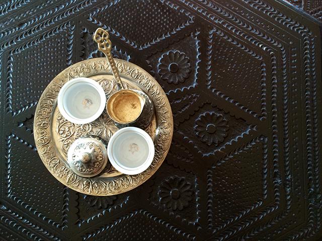 overhead view of turkish coffee