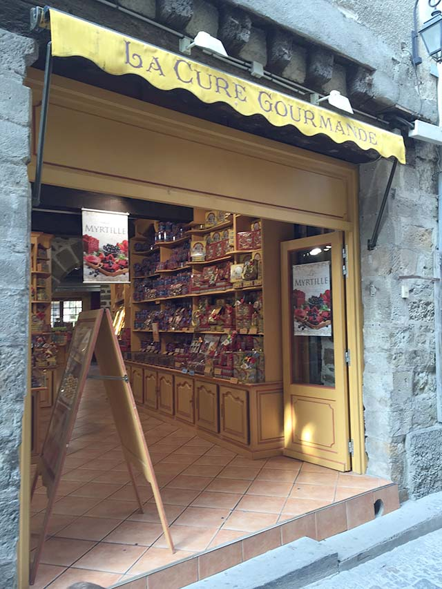 outdoor display of a chocolate shop in france