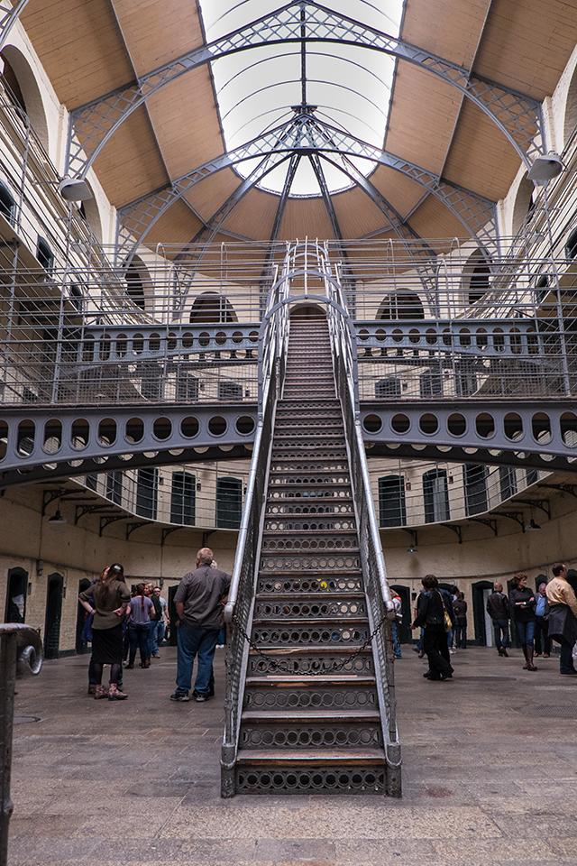 metal stairs at kilmainham gaol jail in ireland