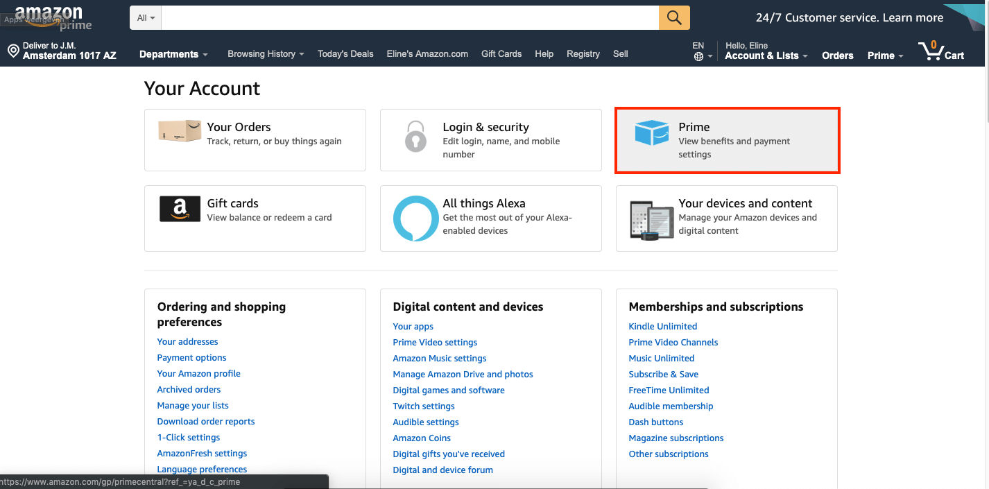 Amazon prime benefits and payment settings
