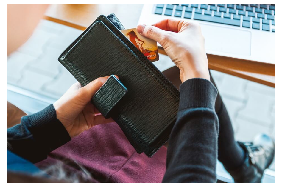 Black wallet with creditcard