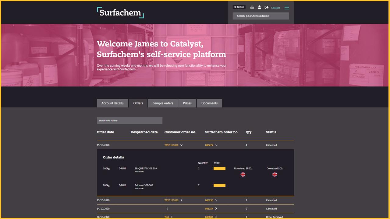 Surfachem Catalyst - Order details dashboard