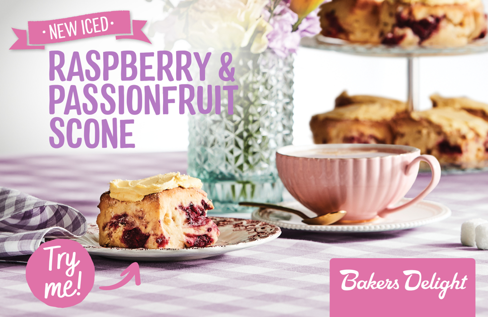 Bakers Delight's NEW Iced Raspberry & Passionfruit Scone!