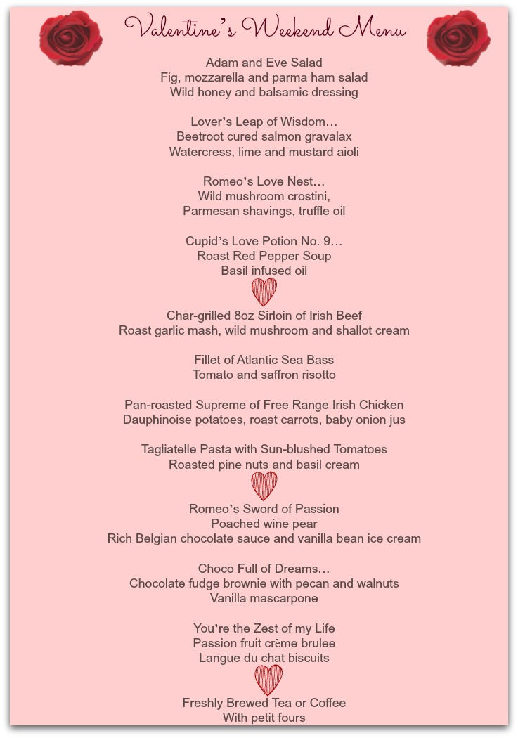 Valentine Weekend Menu