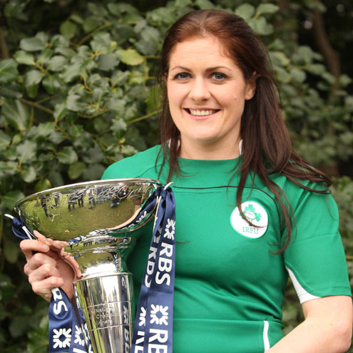 Green goddess: Fiona Coughlan will lead Ireland out against the Welsh on Feb 3rd.
