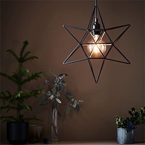 hanging christmas star light in cage design