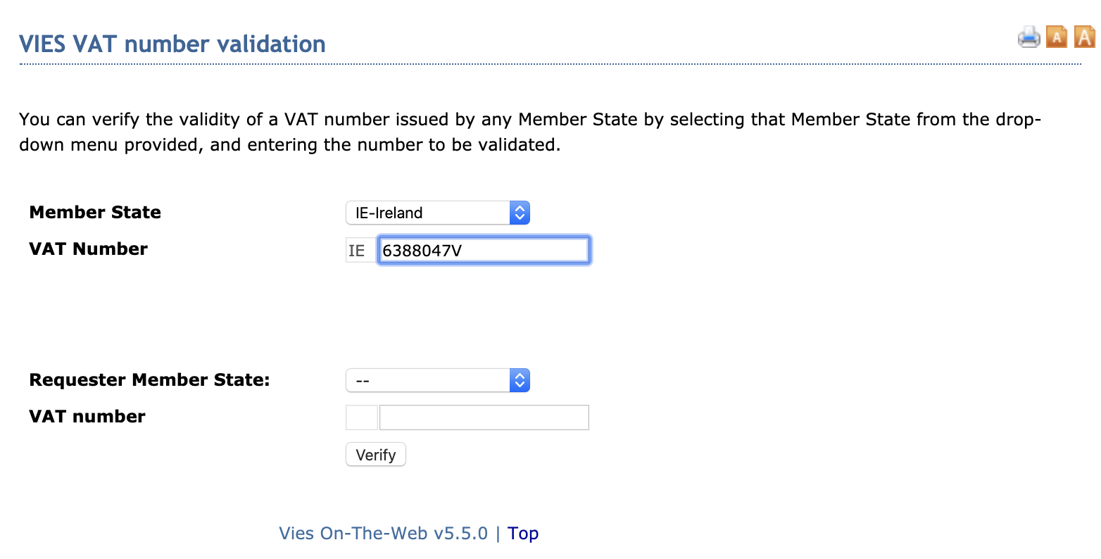 VAT number validation request with the VIES website