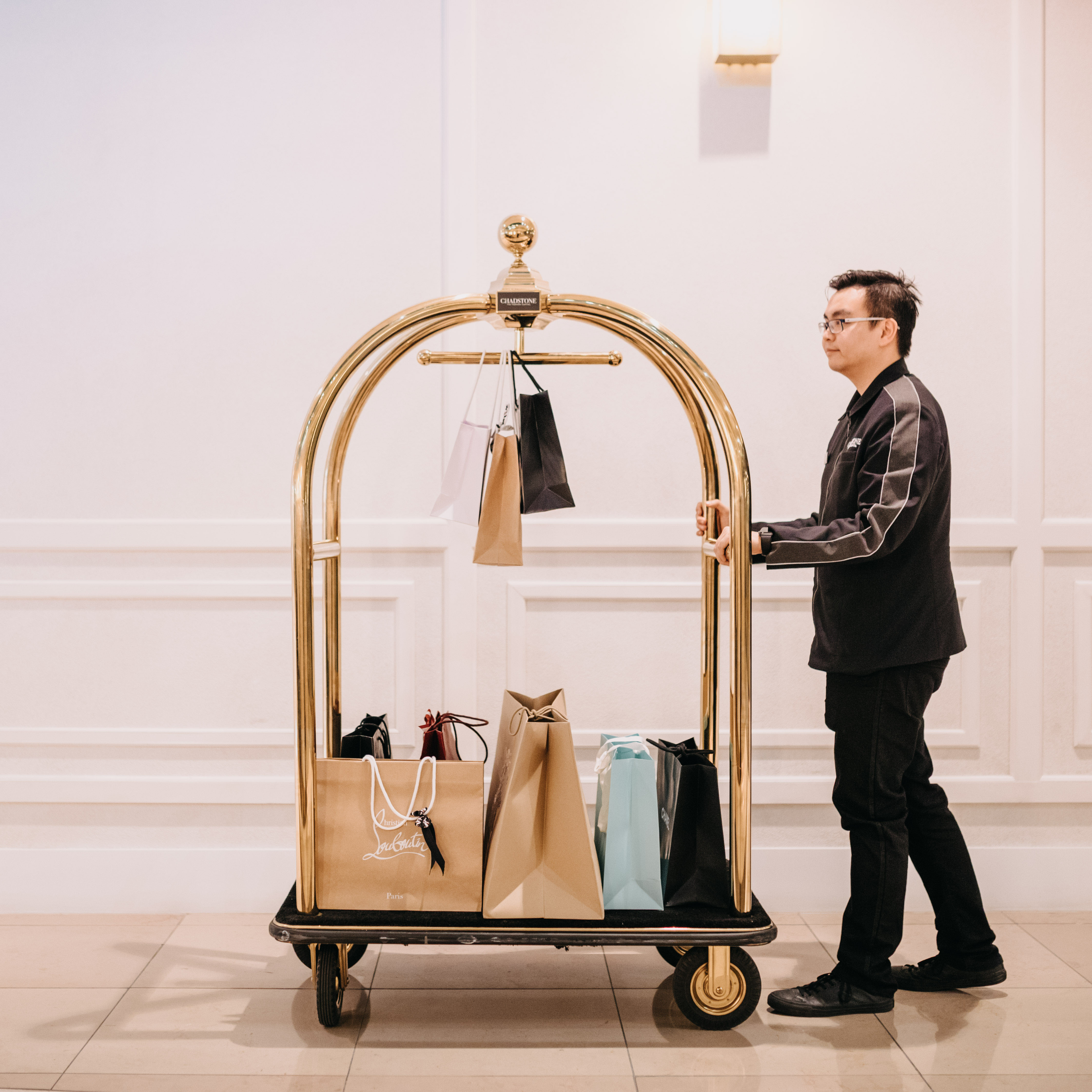 Bags on trolley - Parcel Concierge