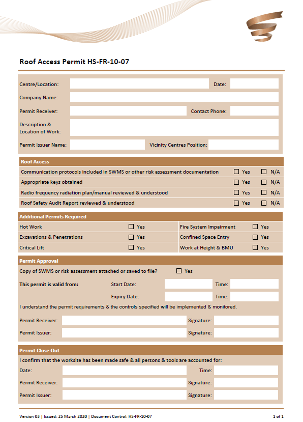roof access form