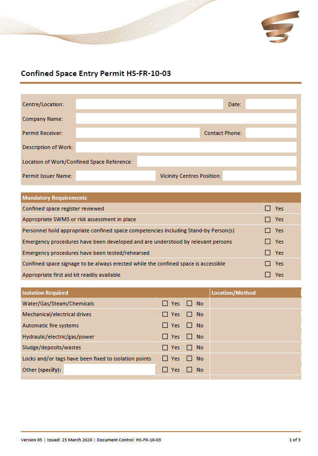 Confirmed entry form