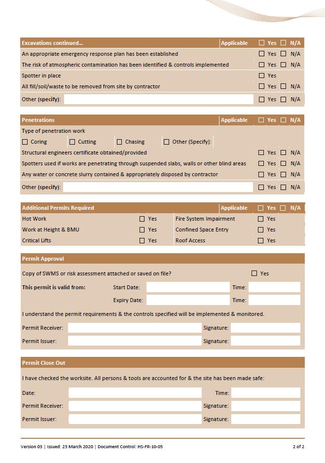 Penetrations & Excavations Permit 2