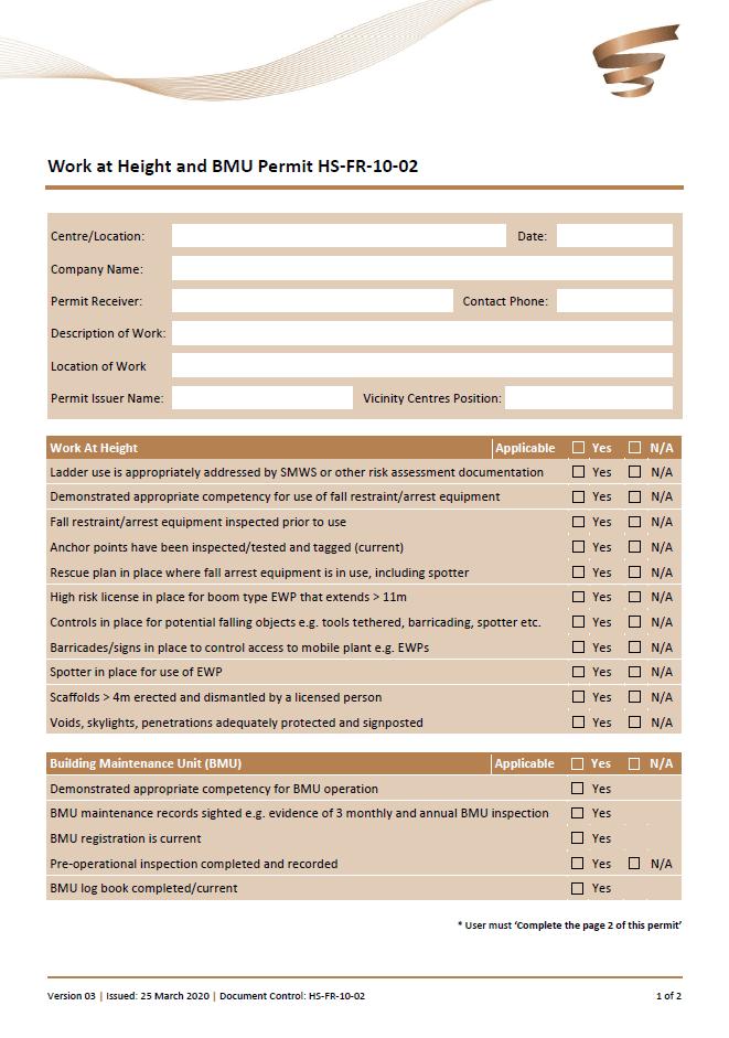 Height BMU permit