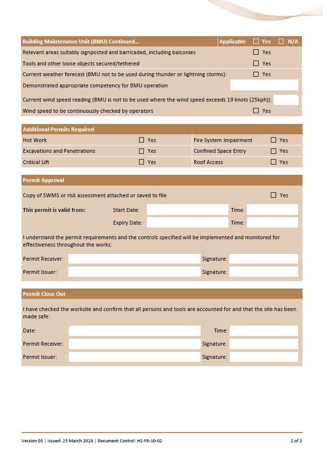 Height BMU Form Permit 2