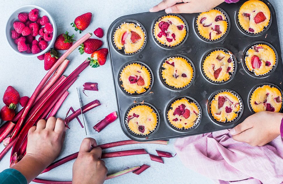 Rhubarb, Lemon & Berry Muffins