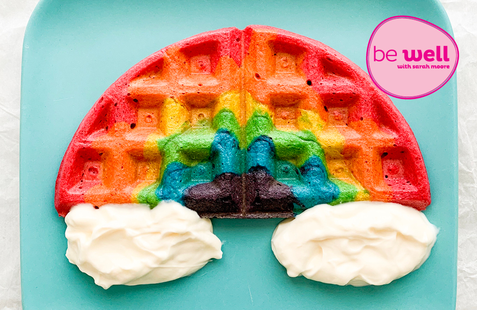Rainbow Waffles brought to you by Nutritionist, Sarah Moore.