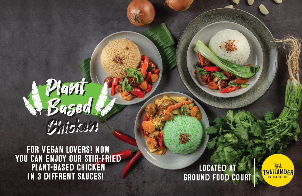 Thailander new Autumn menu is here, plant-based chicken with 3 different sauces.