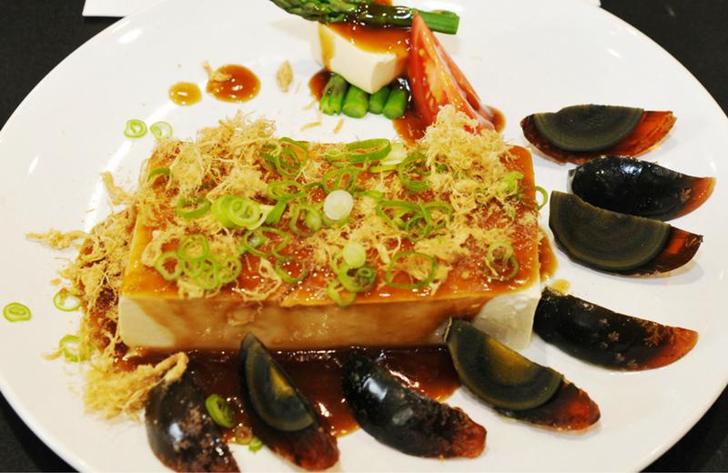 Preserved duck egg and Tofu Salad 拌皮蛋豆腐
