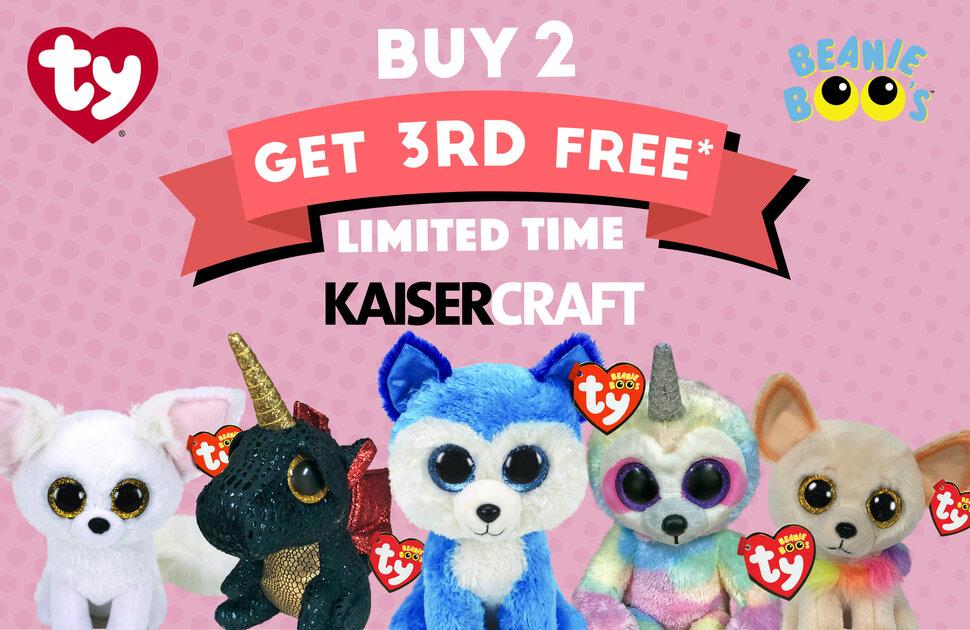 Buy 2 get 3rd Free Beanie Boos at Kaisercraft