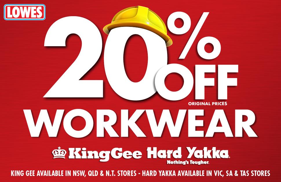 20% off Hard Yakka