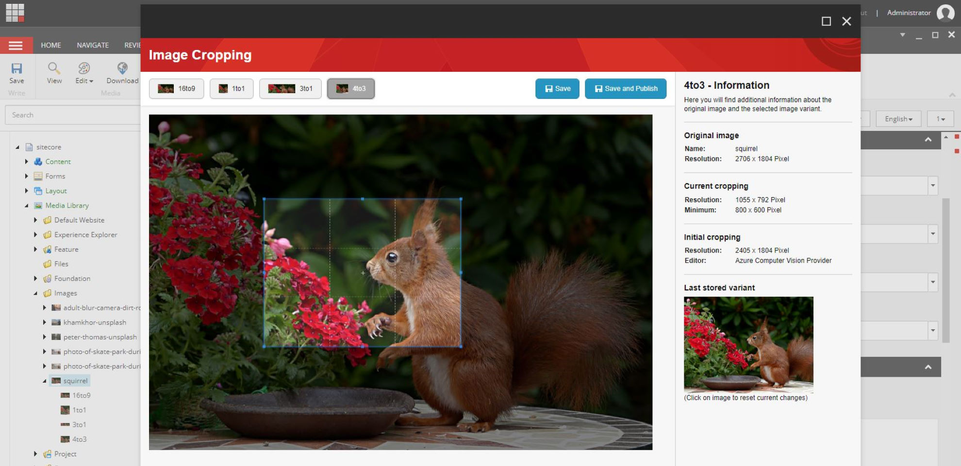 Screenshot Sitecore Image Cropping SPEAK-App