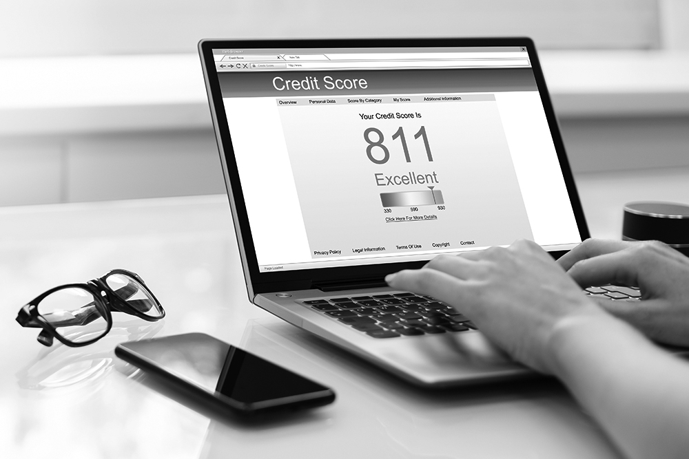 Small business owner uses a laptop to look up his business credit score.