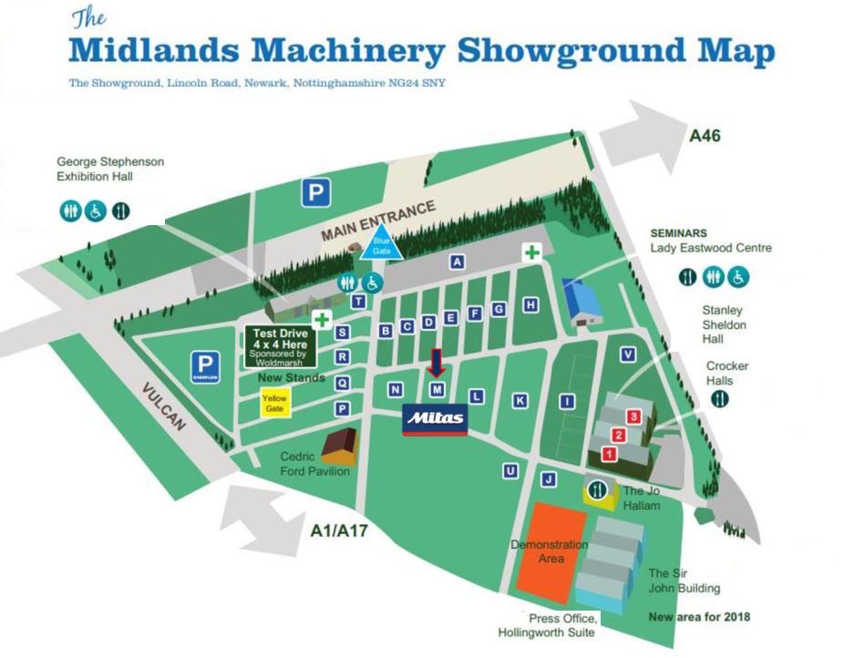 Midlands Machinery Show map