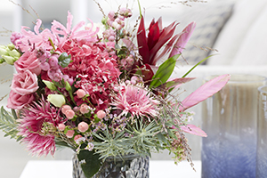 Floral arrangement, floristry, bouquet, vase, gerbera, rose, nerine, hypericum, lifestyle botanical photography