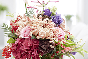 Flower arrangement, flowers, chrysanthemum, rose, lisianthus, hydrangea, nerine, eustoma, floristry, botanical stock photography
