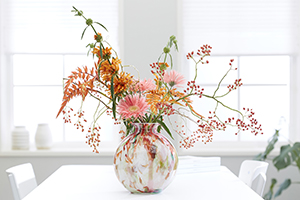 Flowers in vase, rose hips, rosehips, berries, gerbera, arrangement, botanical lifestyle images