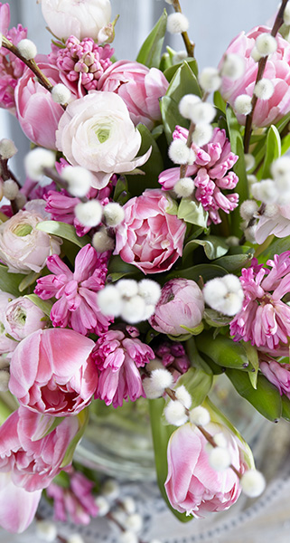 Spring bouquet, white, pink, cut flowers, fragrant, ranunculus, hyacinths, tulips, botanical image library