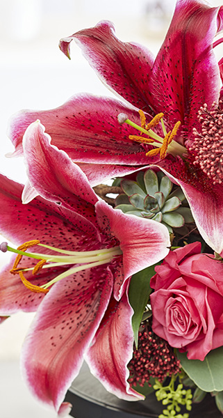 Floral arrangement, red, oriental lilies, roses, flowers, botanical photography