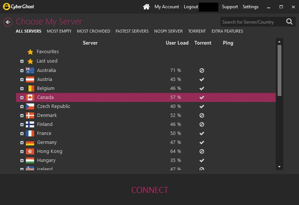 Connect to numerous server locations