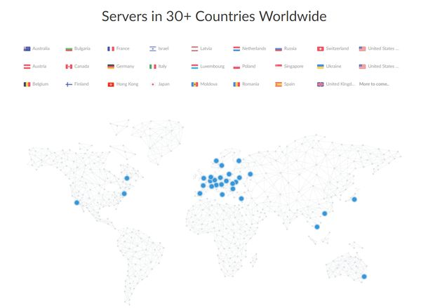 Servers in 30 countries