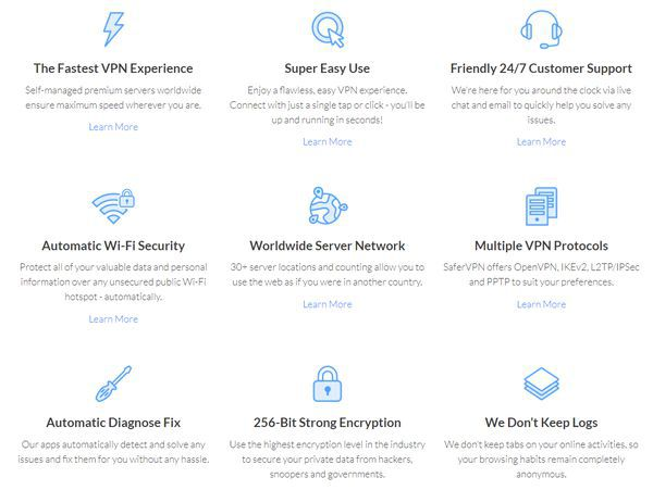 Numerous features are offered by SaferVPN