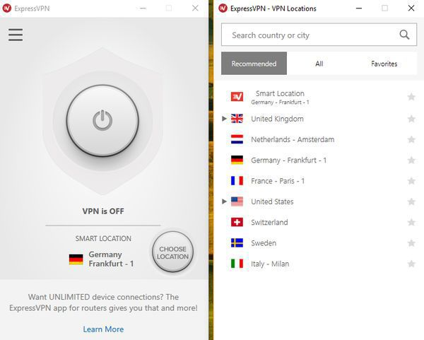 Connect to a country from the server list