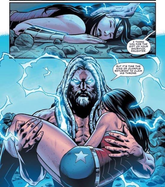 Wonder Woman Swinging From Lightning