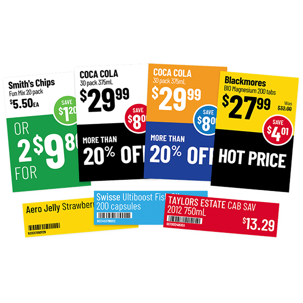 Promotional Shelf Talkers & shelf labels generated by ticketing software
