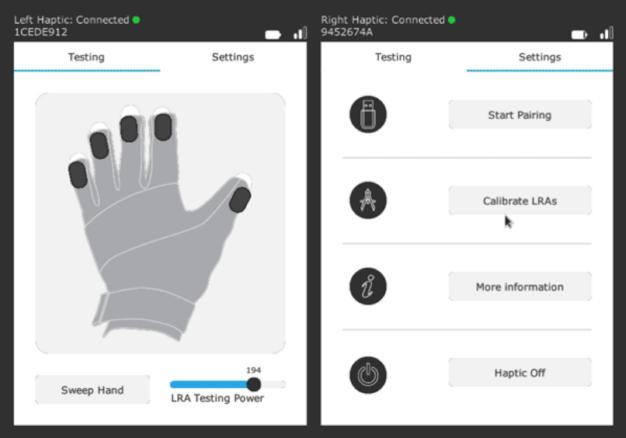 Configuration gants manus vr prime 2