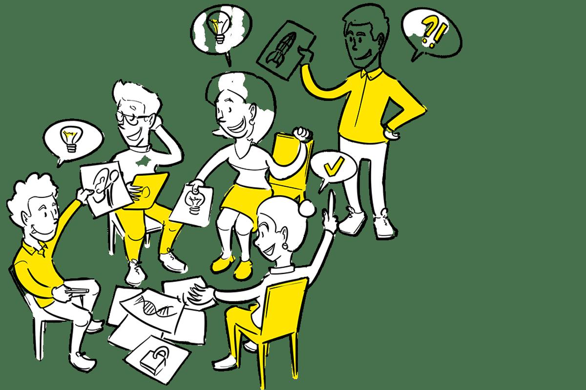 Praatplaat samen ontwikkelen met je team proces tekening uitwerken Den Haag