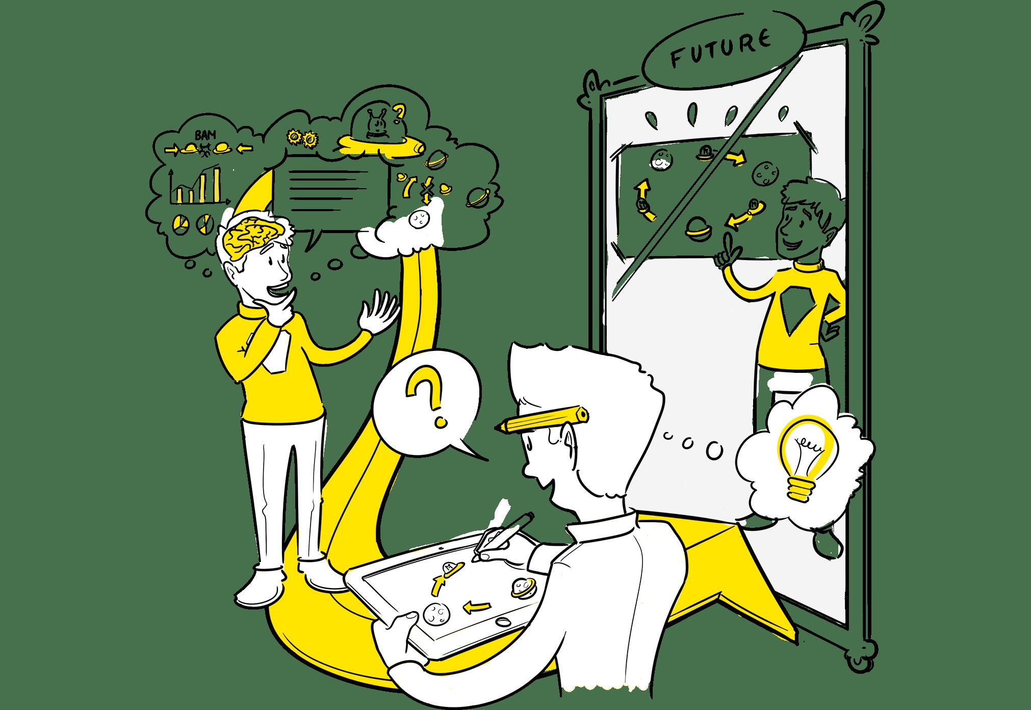 Portfolio praatplaat visuele verbinders voorbeelden van praatplaat animatie strategie ontwikkeling infographic sneltekenen. Wij maken visualisaties voor jouw strategie, visie, proces, product, dienst of idee!