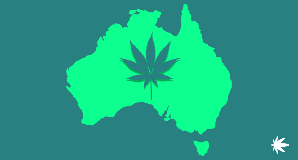 picture of cannabis leaf on Australian map