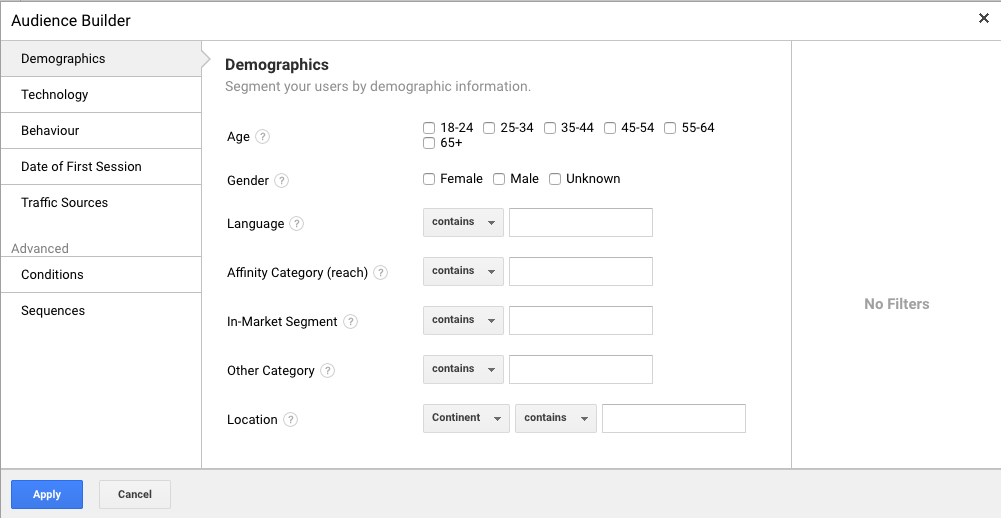 Google Analytics Create Audiences Demographics - WeDiscover, Paid Search Marketing Agency London