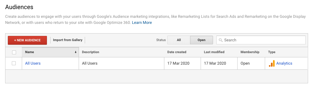 Google Analytics Create Audiences Website Visitors - WeDiscover, Paid Search Marketing Agency London