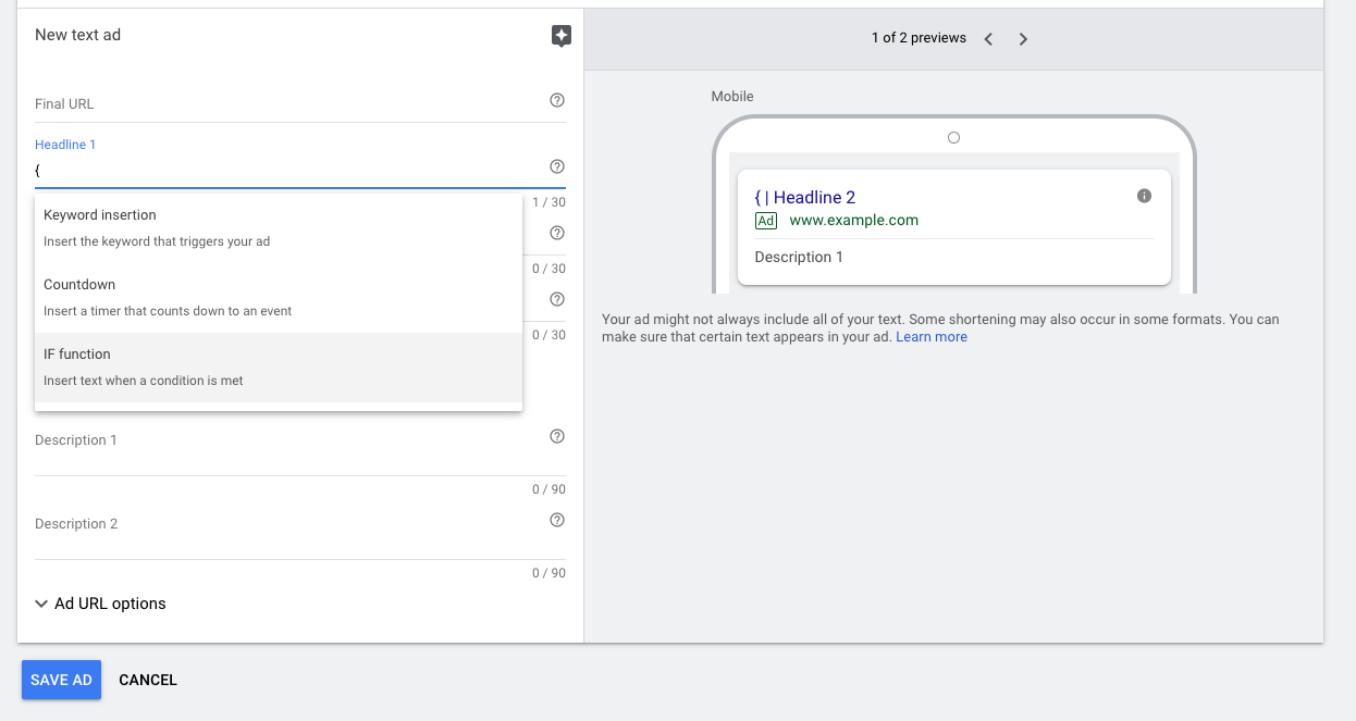 Google Ads IF Function Setup Example - WeDiscover, Paid Search Marketing Agency London