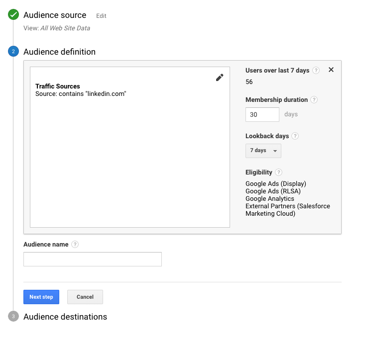 Google Analytics Create Audiences Screenshot Summary - WeDiscover, Paid Search Marketing Agency London