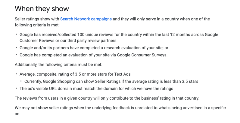 When Do Google Seller Ratings Show - WeDiscover, Paid Search Marketing Agency London